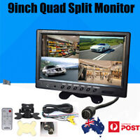"9"" TFT LCD Car Rearview Quad Split Monitor Remote Control RCA 12V 24V 800×480 HD"