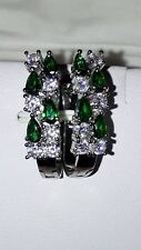 LADIES 925 STERLING SILVER EMERALD AND WHITE SAPPHIRE EARRINGS