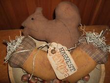 Primitive Grungy Squirrels & Acorns Homespun Rustic Folk Art Tucks Bowl Fillers