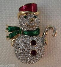 Signed Swan Swarovski Pave Snowman Brooch Pin