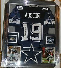 MILES AUSTIN SIGNED JERSEY FRAMED SUEDE MATTING AUTO JSA COA DALLAS COWBOYS