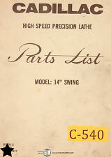 Cadillac 14 Precision Lathe Parts List And Electrical Wiring Manual 1977
