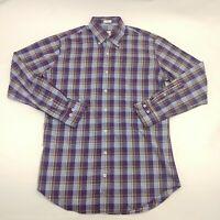 Peter Millar Mens Medium Button Down Shirt Purple Plaid Long Sleeve Cotton