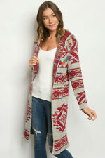 NWT Boho Colorful Aztec Tribal Print Open Front Hooded Western Sweater Duster L
