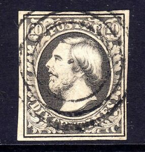LUXEMBOURG 1852-8 10c GREY BLACK USED, FOUR MARGINS, SG 2