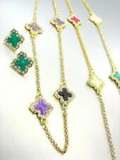 18kt Gold Plated Multi Lacquer Enamel Clover Clovers Long Necklace Earrings Set