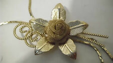 Necklace: Beautiful Vintage Rose Flower Pendent Leaves&Thin Adjustable Gold Mesh
