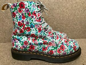 RARE Dr. Martens Pascal Floral Pink White Leather Pink Boots Women's US 7 | UK 5