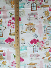 50's RETRO BAKING SEWING ITEMS COFFEE POT ROLLING PIN PINK COTTON FABRIC BTHY