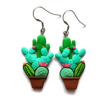 handmade cactus succulents green southwestern desert flower big jewelry earrings