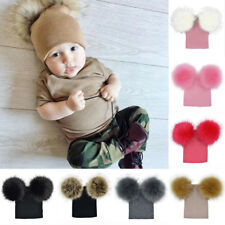 UKStock Children Kids Baby Crochet Knit Beanie Double Fur Pom Pom Bobble Hat Cap