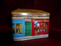 French Antiques Musique Epicerie Renard STREET HOUSE SHAPE TIN Food Advertising