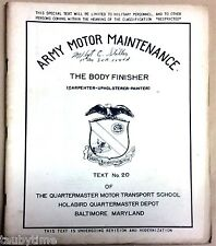 ARMY MOTOR MAINTENANCE THE BODY FINISHER TEXT NO. 20