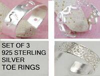 SET OF 3 - 925 Sterling Silver Toe Rings, HEART, FOOTPRINT & CELTIC