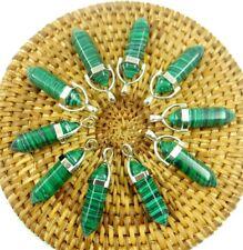 10PCS Wholesale malachite Hexagonal Point Pendant Gemstone Jewelry Necklace