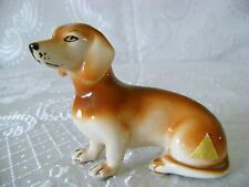 Vtg Czech Bohemian ROYAL DUX Hand Painted Porcelain Dachshund Dog Figurine