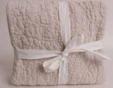 New/washed Pottery Barn Belgian Flax Linen Floral Stitch Euro sham, neutral
