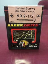 "Saber Drive 1 lb 9 X 2- 1/2"" Star Drive Interior Cabinet Screws New"