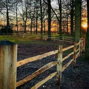 Fencing - Chestnut Post and Rail 2 MORTICE - HALF ROUND POST - 2.0M