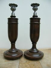 More details for an antique pair of oak candelabra candlestick candlesticks