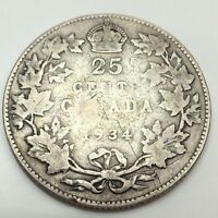 1934 Canada 25 Twenty Five Cents Quarter Circulated Canadian Coin D486