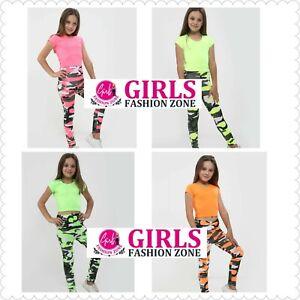 Girls Plain Short Sleeves Neon Crop Top & Camouflage Full Length Leggings Set