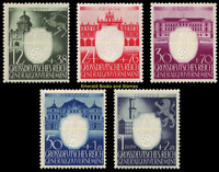 EBS Generalgouvernement 1943 - 3rd Anniversary Nazi Party - Michel 105-109 MNH**