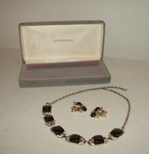 Vintage Coro Black Thermoset and Rhinestone Necklace and Clip Earrings Set