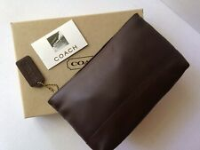 NWOT VINTAGE COACH MAHOGANY BROWN LEATHER COSMETIC  MAKEUP BAG CLUTCH PURSE