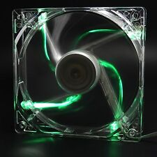 80mm 4 LED Green Light CPU Cooling Fan Computer PC Clear Case Quad Heatsink Mod
