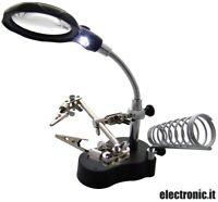 Supporto terza mano con lente di ingrandimento e lampada a LED
