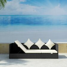 vidaXL Outdoor Sofa 3-Seat Poly Rattan Wicker Black Convertible Chaise Lounge