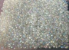 1000+ Clear Rainbow Pearl Seed Hard Plastic Beads On Fishing Line.1-3mm Size