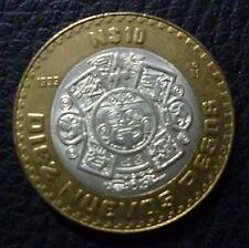 MEXICO BIMETAL SILVER COIN 10 Nuevos Pesos, KM553 XF+ 1993 - Tonatiuh Calendar