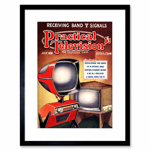 """Science Magazine Cover Practical Television Future Design Framed Print 12x16"""""""