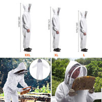 XXL Full Body Anti-bee Suit Beekeeping Equipment Cotton Veil Hood Coat White New