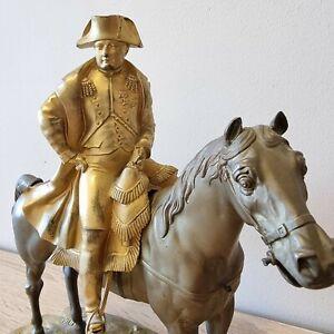 Bronze Napoléon sur son cheval 19 ème siècle sculpture statue ancienne 30 cms