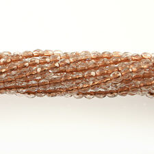Copper Lined Crystal Clear - 50 4mm Round Fire Polish Czech Glass Beads