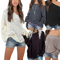 Womens Off Shoulder Sweater Sweatshirt Jumper Knitted Baggy Loose Pullover Top