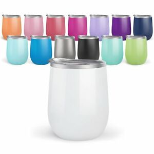 4 pack Bev Steel Stemless Wine Tumbler, 12 oz   Double Wall Vacuum Insulated