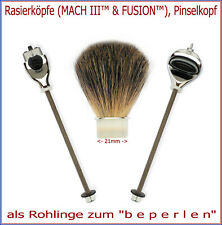 "Rasierköpfe (MACH3™, FUSION™) oder Pinselkopf als Rohlinge zum ""beperlen""!"
