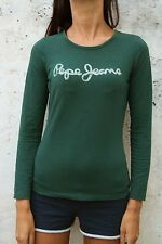 Pepe Jeans Long Sleeved Dark Green Ladies Top T Polo Shirt Stretch Glittered S