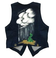 Rare Stormy Vintage Made in Usa Hand Painted Unisex Denim Vest Size M