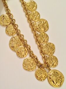 KJL Kenneth Jay Lane Signed Heavy Gold Tone Roman Coin Necklace RARE
