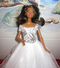 NEW MATTEL~STUNNING MODEL BLACK BARBIE~SEQUIN-SATIN+LACE WEDDING GOWN-VEIL+HEELS