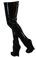 Erogance Crotch Wedge High Heels Overknee Stiefel Gr 36-46 NEU 5072 Schwarz Lack