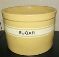 "Nice Yellow Ware SUGAR  Crock Dandy Line Brush McCoy Ohio Stoneware 9.5 by 6 .5"""
