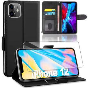 Cover Custodia Pelle Nero + Pellicola Vetro Temprato IPHONE 12 Mini 12 Pro Max