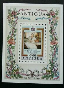 [SJ] Antigua 80th Birthday Of H.M Queen Elizabeth II 1980 Royal Flower (ms) MNH