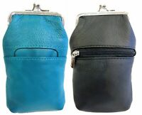 100% Leather Cigarette Case Lighter Match Pocket Zipper Coin Pouch SOLD by PAIR